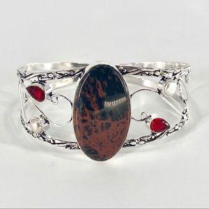 S925 Plated Obsidian Garnet Pearl Cuff Bracelet